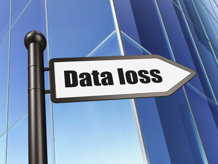 data loss: Information concept: sign Data Loss on Building background, 3D rendering Stock Photo