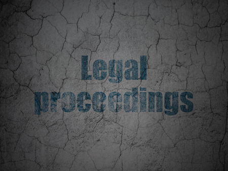 court proceedings: Law concept: Blue Legal Proceedings on grunge textured concrete wall background