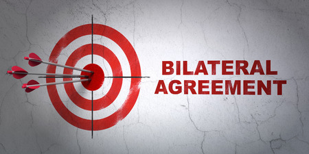 bilateral: Success Insurance concept: arrows hitting the center of target, Red Bilateral Agreement on wall background, 3D rendering