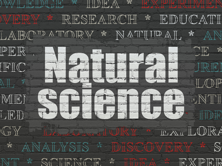natural science: Science concept: Painted white text Natural Science on Black Brick wall background with  Tag Cloud
