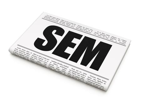 sem: Marketing concept: newspaper headline SEM on White background, 3D rendering