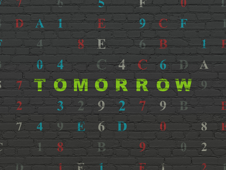 tomorrow: Time concept: Painted green text Tomorrow on Black Brick wall background with Hexadecimal Code