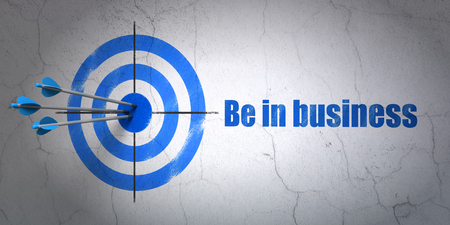 hitting a wall: Success business concept: arrows hitting the center of target, Blue Be in business on wall background, 3D rendering