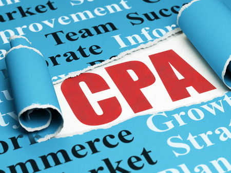 cpa: Business concept: red text CPA under the curled piece of Blue torn paper with  Tag Cloud, 3D rendering