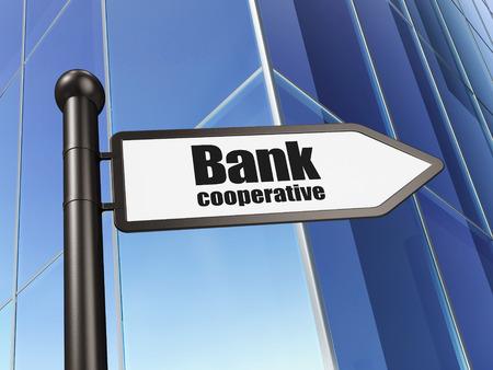 cooperativismo: concepto de moneda: Banco Cooperativo firmar en el fondo del edificio, 3D