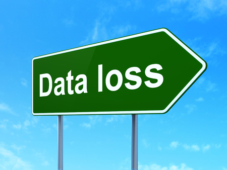 data loss: Data concept: Data Loss on green road highway sign, clear blue sky background, 3D rendering