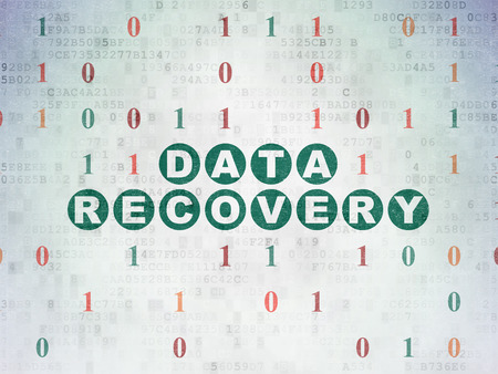 data recovery: Information concept: Painted green text Data Recovery on Digital Data Paper background with Binary Code
