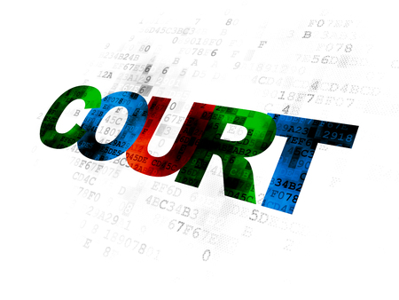 Law concept: Pixelated multicolor text Court on Digital background Stock Photo