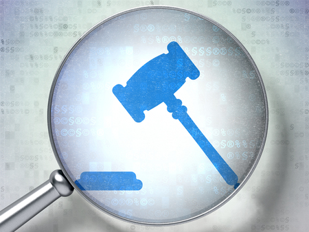 data protection act: Law concept: magnifying optical glass with Gavel icon on digital background, 3D rendering