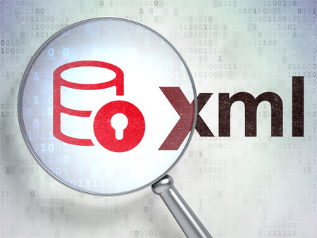 xml: Programming concept: magnifying optical glass with Database With Lock icon and Xml word on digital background, 3D rendering