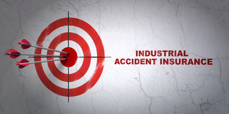 hitting a wall: Success Insurance concept: arrows hitting the center of target, Red Industrial Accident Insurance on wall background, 3D rendering