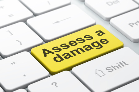 assess: Insurance concept: computer keyboard with word Assess A Damage, selected focus on enter button background, 3D rendering