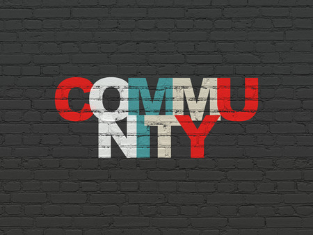 microblog: Social media concept: Painted multicolor text Community on Black Brick wall background Stock Photo