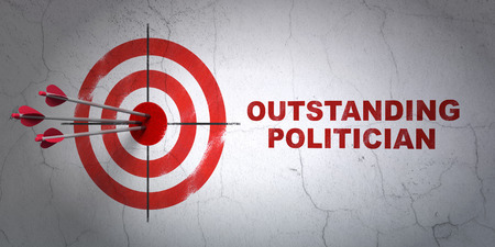 hitting a wall: Success political concept: arrows hitting the center of target, Red Outstanding Politician on wall background, 3D rendering