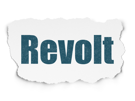 revolt: Political concept: Painted blue text Revolt on Torn Paper background with  Tag Cloud Stock Photo