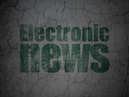 tabloid: News concept: Green Electronic News on grunge textured concrete wall background Stock Photo