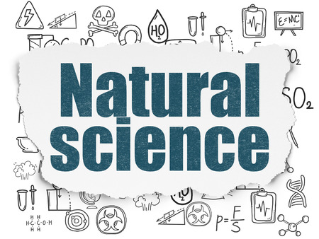 natural science: Science concept: Painted blue text Natural Science on Torn Paper background with  Hand Drawn Science Icons Stock Photo