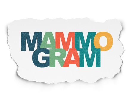 mammogram: Health concept: Painted multicolor text Mammogram on Torn Paper background