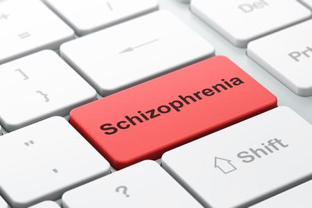 schizophrenia: Medicina concepto: Teclado de ordenador con la palabra esquizofrenia, enfoque seleccionado por entra en el botón de fondo, 3D