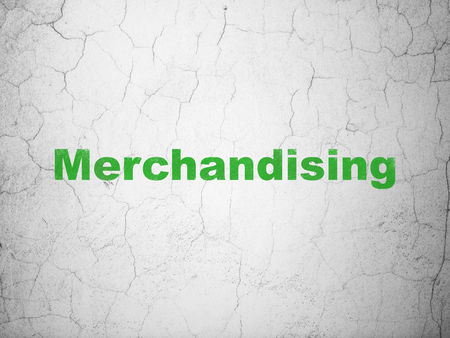merchandising: Advertising concept: Green Merchandising on textured concrete wall background