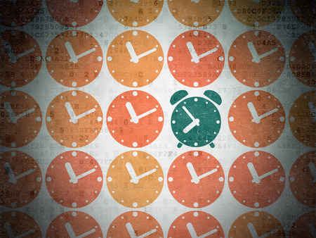 pause icon: Time concept: rows of Painted orange clock icons around green alarm clock icon on Digital Data Paper background Stock Photo