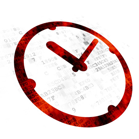 Time concept: Pixelated red Clock icon on Digital background Stock Photo