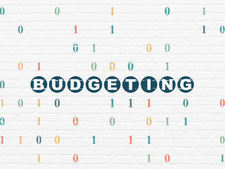 budgeting: Business concept: Painted blue text Budgeting on White Brick wall background with Binary Code