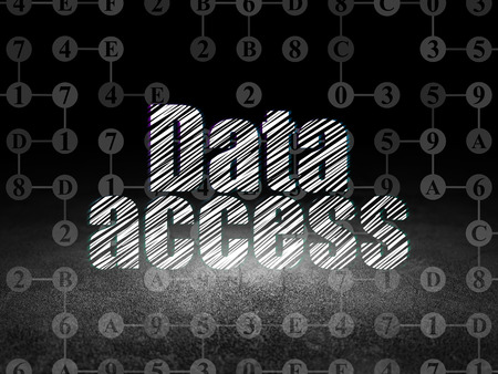 room access: Data concept: Glowing text Data Access in grunge dark room with Dirty Floor, black background with Scheme Of Hexadecimal Code Stock Photo