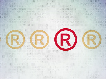 data protection act: Law concept: row of Painted yellow registered icons around red registered icon on Digital Data Paper background Stock Photo