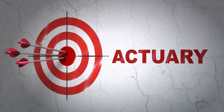 actuary: Success Insurance concept: arrows hitting the center of target, Red Actuary on wall background, 3D rendering Stock Photo