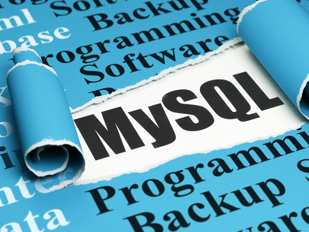 mysql: Database concept: black text MySQL under the curled piece of Blue torn paper with  Tag Cloud, 3D rendering