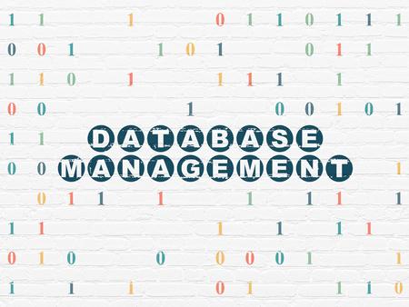 database management: Database concept: Painted blue text Database Management on White Brick wall background with Binary Code Stock Photo