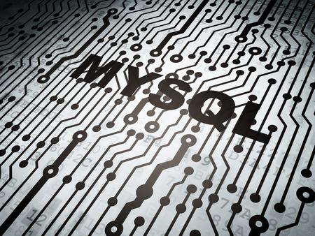 mysql: Database concept: circuit board with  word MySQL, 3D rendering Stock Photo