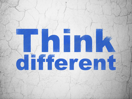 different courses: Studying concept: Blue Think Different on textured concrete wall background Stock Photo