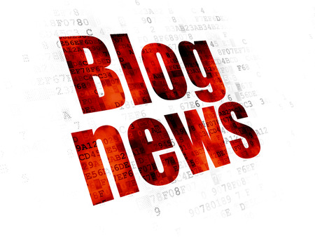 News concept: Pixelated red text Blog News on Digital background Stock Photo