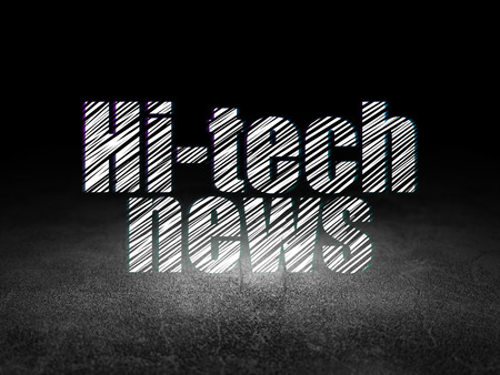 news room: News concept: Glowing text Hi-tech News in grunge dark room with Dirty Floor, black background Stock Photo