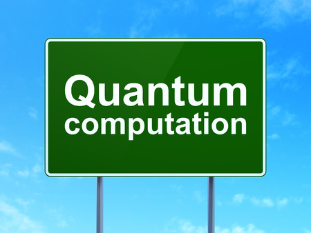 computation: Science concept: Quantum Computation on green road highway sign, clear blue sky background, 3D rendering
