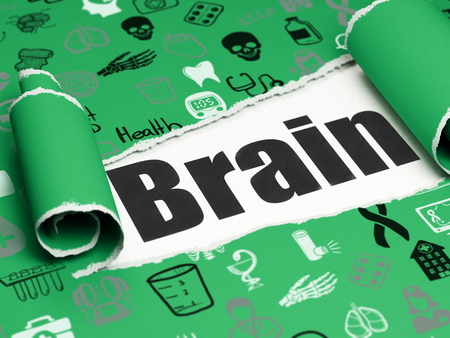 Healthcare concept: black text Brain under the curled piece of Green torn paper with  Hand Drawn Medicine Icons, 3D rendering Stock Photo