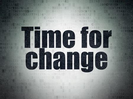 cronologia: Concepto de línea de tiempo: Tiempo pintado negro palabra para el Cambio en el fondo de papel de Datos Digitales