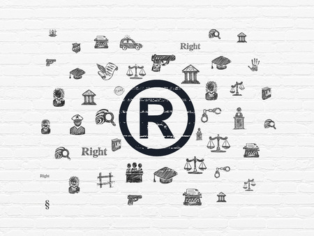 r regulation: Law concept: Painted black Registered icon on White Brick wall background with  Hand Drawn Law Icons