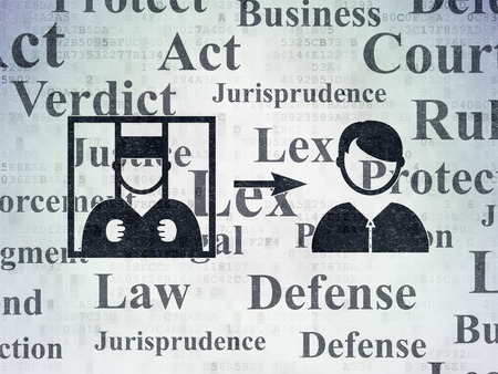 freed: Law concept: Painted black Criminal Freed icon on Digital Data Paper background with  Tag Cloud Stock Photo
