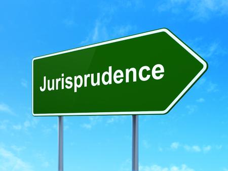 jurisprudencia: Ley concepto: Jurisprudencia sobre muestra de la carretera camino verde, fondo claro de cielo azul, 3D Foto de archivo