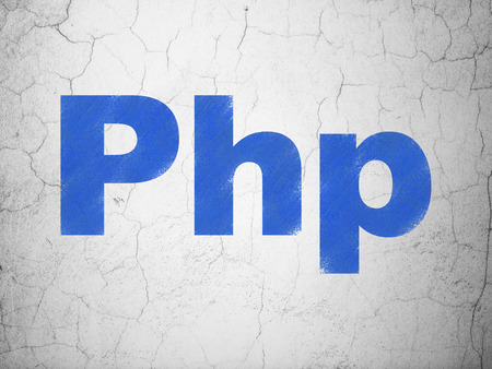 php: Database concept: Blue Php on textured concrete wall background