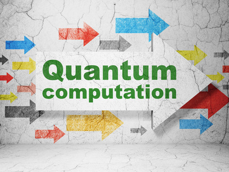 computation: Science concept:  arrow with Quantum Computation on grunge textured concrete wall background, 3D rendering