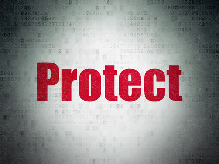 protect: Safety concept: Painted red word Protect on Digital Data Paper background