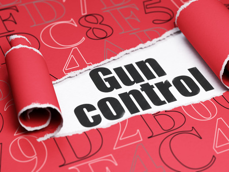 gun control: Security concept: black text Gun Control under the curled piece of Red torn paper with  Hexadecimal Code, 3D rendering