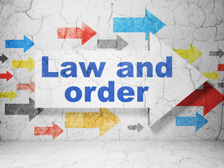 cement court: Law concept:  arrow with Law And Order on grunge textured concrete wall background, 3D rendering