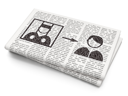 criminal act: Law concept: Pixelated black Criminal Freed icon on Newspaper background, 3D rendering