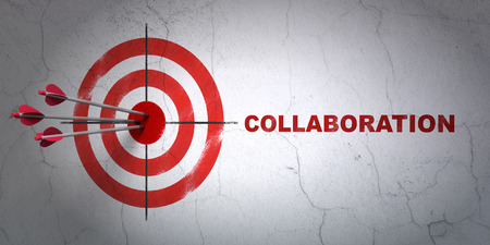 hitting a wall: Success business concept: arrows hitting the center of target, Red Collaboration on wall background, 3D rendering