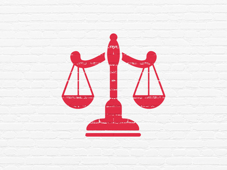 building regulations: Law concept: Painted red Scales icon on White Brick wall background